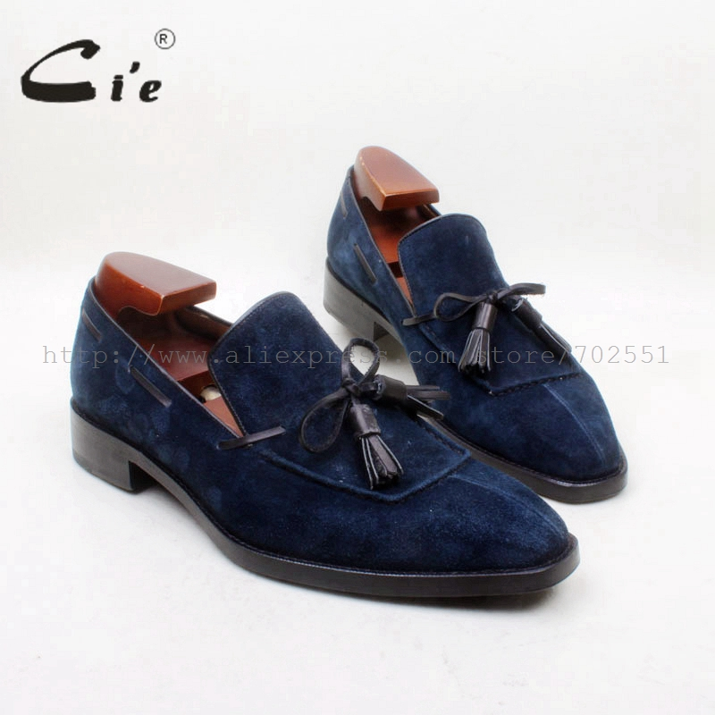 cie Square Toe 100% Genuine Leather Outsole Bespoke Goodyear Craft Handmade Navy Suede Tassels Slip-on Men's Shoe No.loafer 161 cie calf leather bespoke handmade men s square toe derby leather goodyear welt craft mark line shoe color deep flat blue no d98