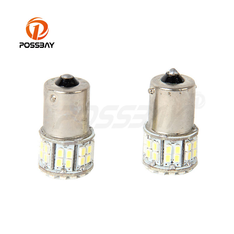 POSSBAY High Power Interior Tail Brake Signal Turn Head Lamps Lights Bulb with White LED 12V 1156 50-SMD 1206 fit Universal