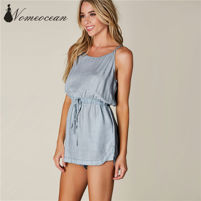 5bce576a8f00 GET TOGETHER CHAMBRAY ROMPER Spaghetti Strap Backless V neck Women Jumpsuits  Drawstring Elastic Waist Women Shorts M17052516-in Rompers from Women s ...