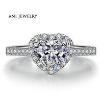 애니 18 천개 화이트 골드 (AU750) 여성 결혼 반지 0.59 CT 인증/SI1 진짜 다이아몬드 보석 헤일로 심장 레이디 반지 패션 디자