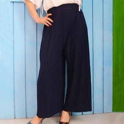 קיץ קפלים שיפון רחב רגל מכנסיים אלסטיים מותן מכנסיים נשים אלגנטי מזדמן מוצק מכנסיים