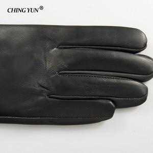 Image 4 - Kış sıcak uzun kollu eldiven kadın kol kollu hakiki deri koyun derisi kaşmir bayan eldivenler birçok perçin düğmeleri eldiven