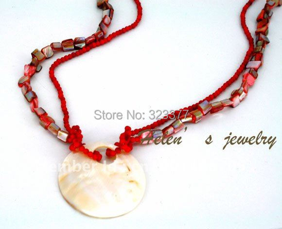 Casual And beautiful Fashion!  80-85CM Long Southsea Pearl Shell And Red Coral Sweater Necklace.
