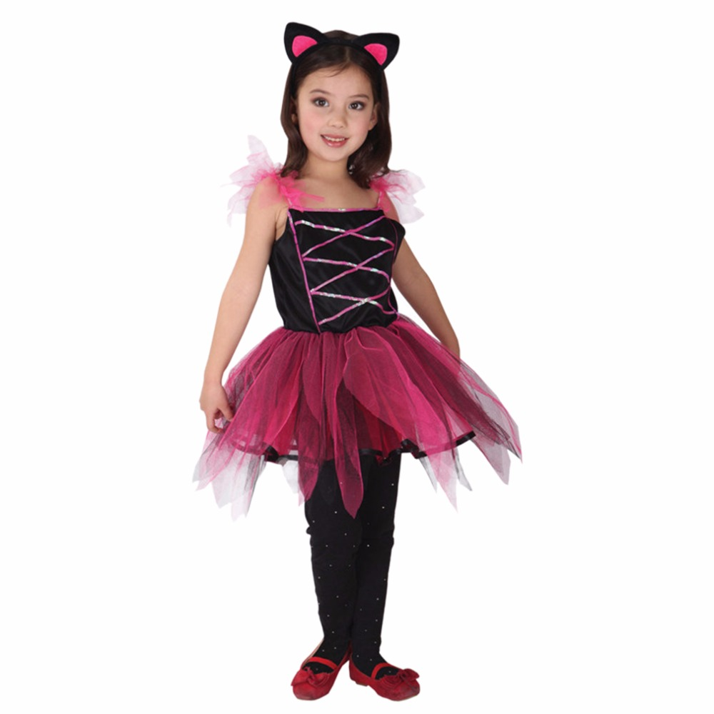 Girls Dress Cute Little Black Cat Cosplay Costumes For ...