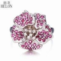 Helon Твердые 10 К (417) проложить 1.5ct реального рубин натуральный бриллиантами Обручение Свадебные драгоценный цветок Для женщин Мода Ювелирные