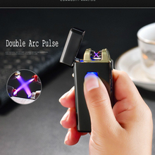 New Double Arc Lighter LED Electronic USB Lihgters Novelty Electric Cigarette Arc Pulse Lighter Windproof 2 Cross Fire aansteker