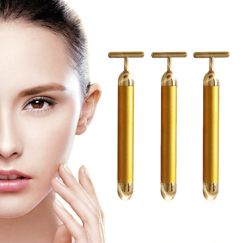Mini 24K Gold Massage Device Electric Eye Massager Facial Vibration Thin Face Magic Stick Anti Bag Pouch Wrinkle Pen electric vibration eye face massager small anti ageing wrinkle lifting device