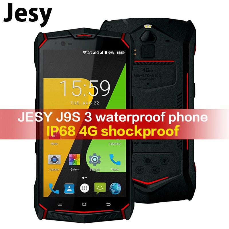 JESY J9s Pro IP68 4G À Prova de Choque de telefone celular À Prova D' Água Telefone 64 4G RAM GB ROM Smartphones 5.5