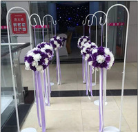 wedding flower ball wreaths metal stand shop open door decoration T stand stage backdrop decor