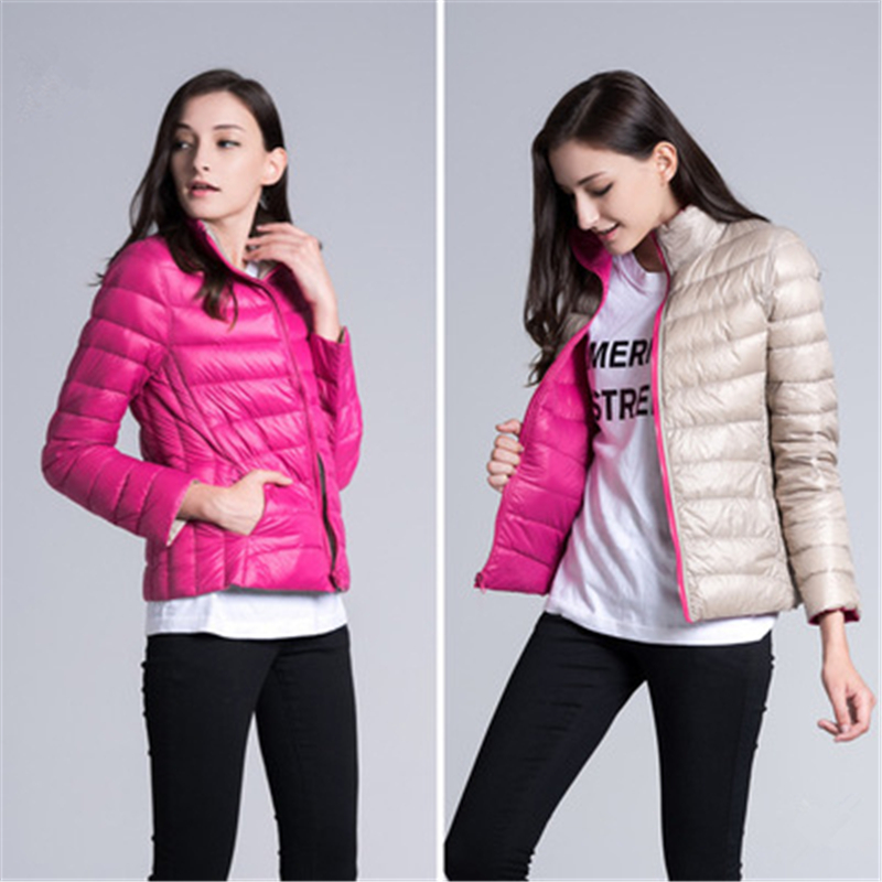 Front and Inside Can Wear, Women   Down   Jackets, 2018 Female Slim Fashion,Thin and Light Womens   Down     Coats   Size S-3XL