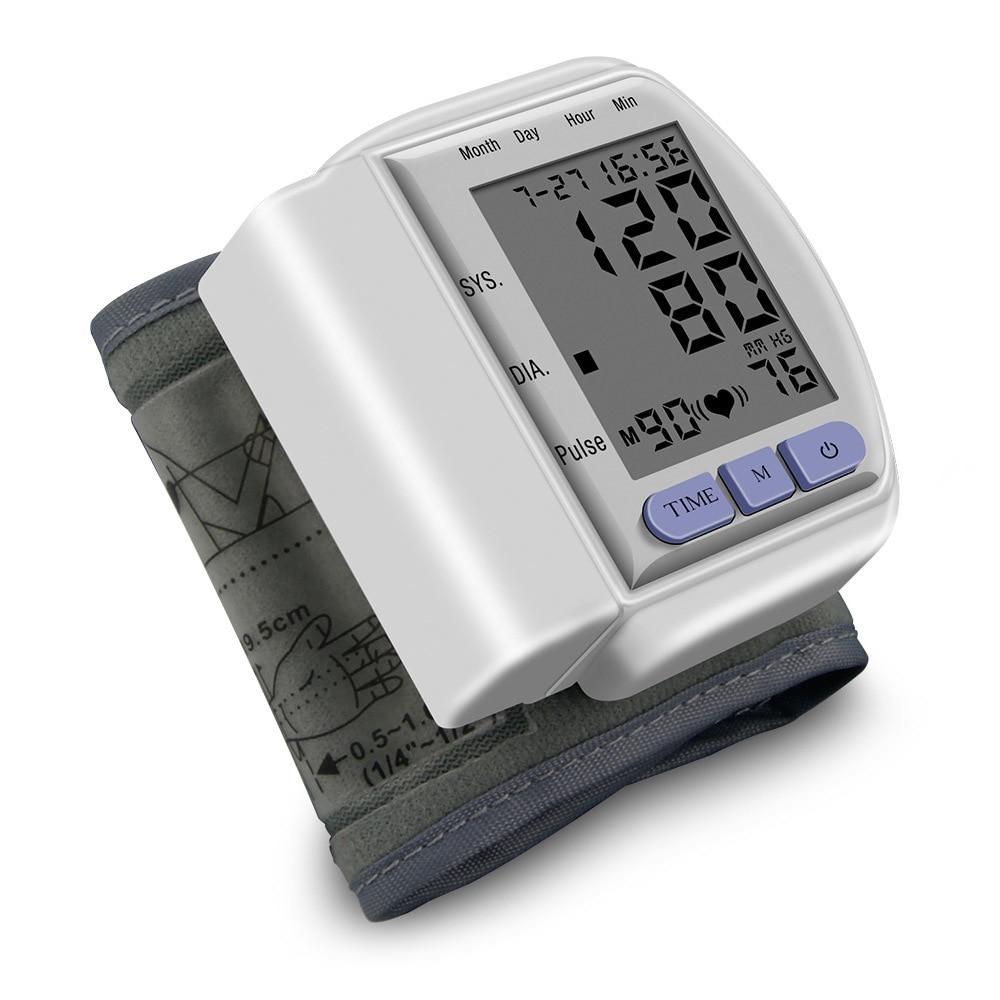 Poignet la pression artérielle moniteur Mémoire numérique tensiomètre Pulse Taux LCD automatique mesure de la pression artérielle ABS Soins de Santé