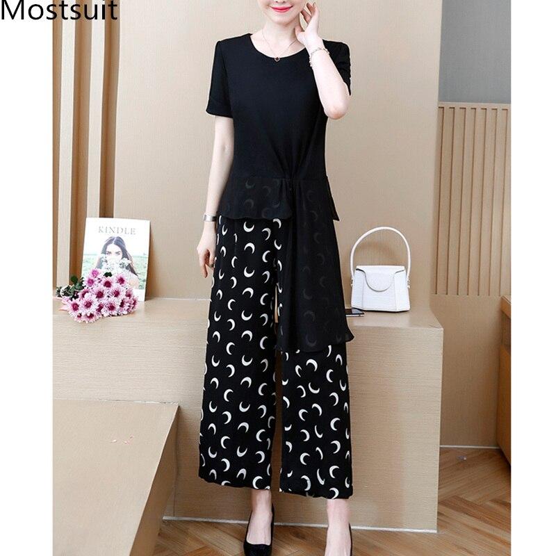 2019 Black Summer Two Piece Sets Outfits Women Plus Size Asymmetrical Tops And Printed Wide Leg Pants Korean Elegant Suits L-5xl 28