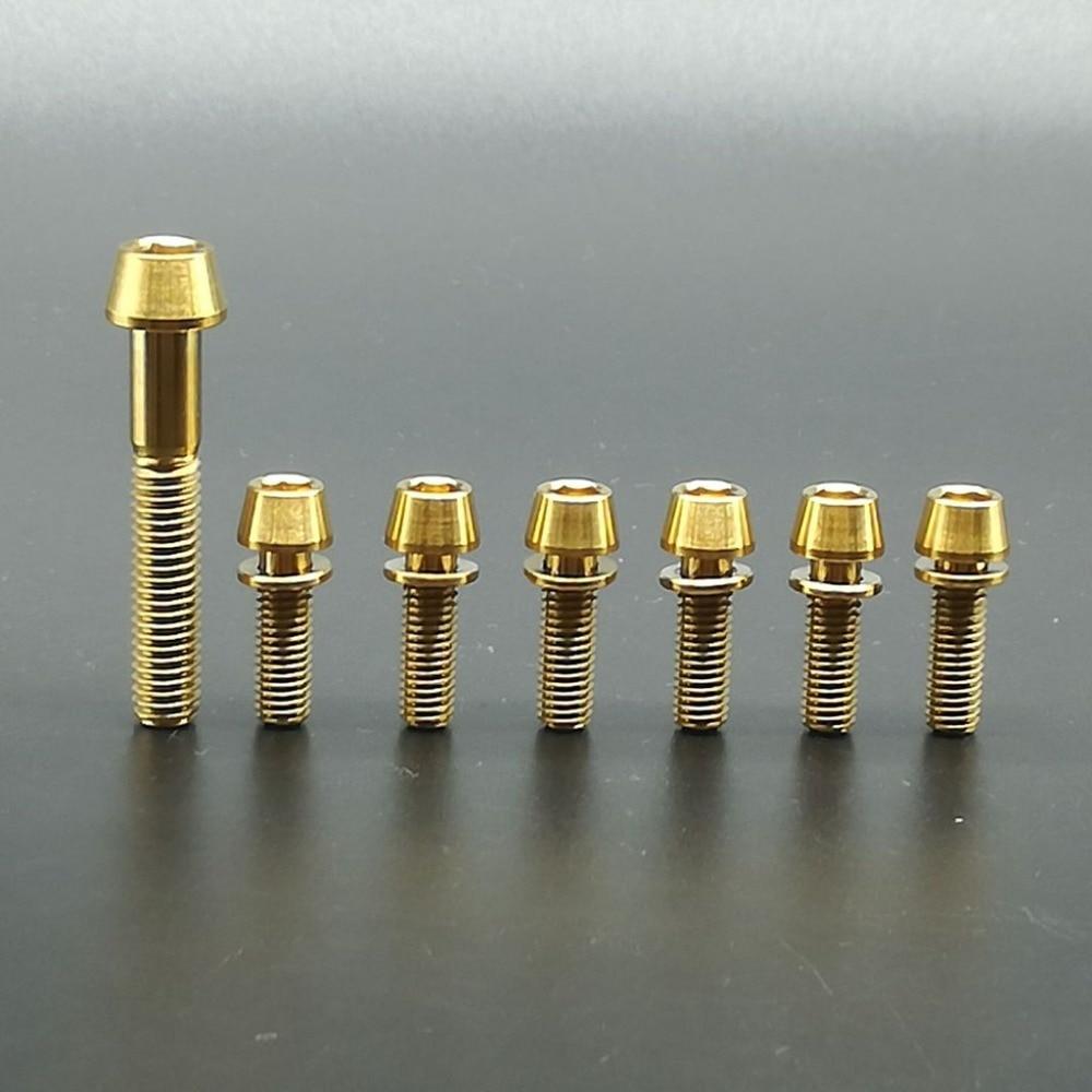 Blue Titanium Ti Bolts For Stem M5 x 16mm 6 pcs Taper Head