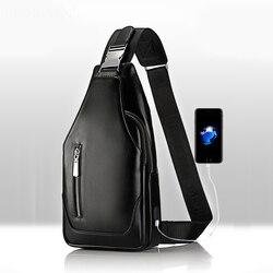 Promoções 2019 chegada nova masculina casual ombro pu couro crossbody sacos de viagem pacote peito saco do mensageiro com interface usb