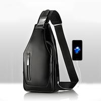 Promosyonlar yeni geldi erkek rahat omuz PU deri Crossbody çanta seyahat göğüs paketi askılı çanta USB arayüzü ile