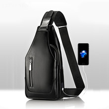 Promotions 2019 new arrived Men's casual Shoulder PU leather Crossbody Bags travel Chest pack Messenger bag With USB Interface(China)