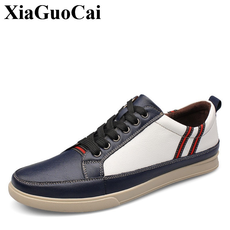 Genuine Leather Casual Shoes Men Winter&autumn Fashion England Handmade Round Toe Lace-up Men Flats Leisure Shoes H463 35