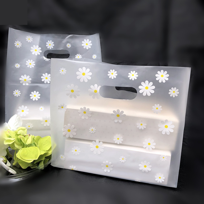 100pcs 18*25*10cm Lovely Floral Gift Bag Thicken Plastic Carry Bag Shopping Bag ,Takeaway Salad Packing Bag