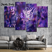 Canvas Painting lavender and butterfly 4 Pieces Wall Art Framework Modular Wallpapers Poster Print Home Decor