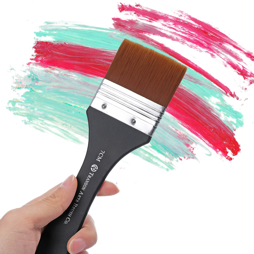 1Pc 7 Models Nylon Hair Oil Painting Brush Watercolor Big Artist Drawing Paint Brush Pen Art DIY Accessory Wooden Handle Tool