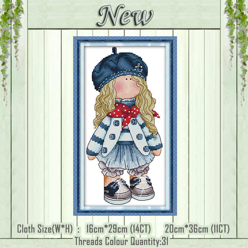 Girl cartoon home decor painting counted printed on the canvas DMC 11CT 14CT kits chinese Cross Stitch embroidery needlework Set