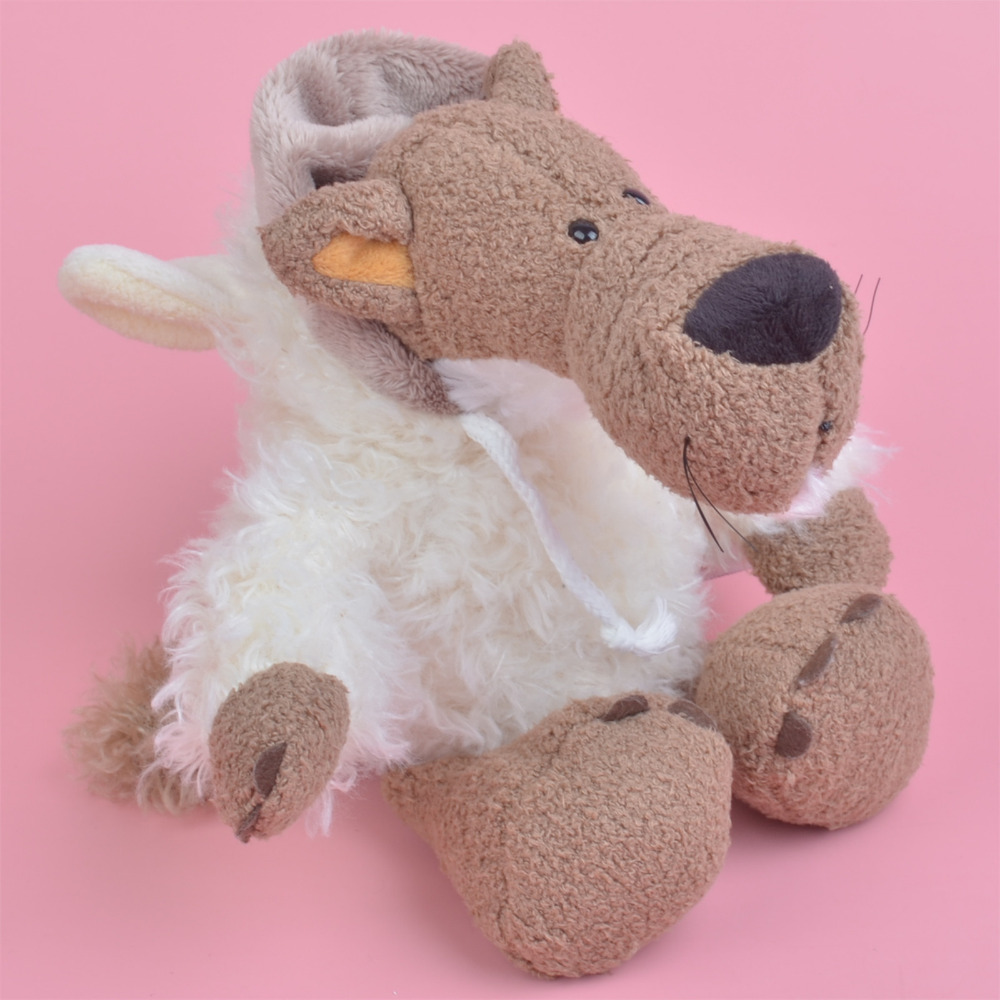 25 75cm White Wolf With Sheep Cloth Plush Toy For Cute Baby Kids