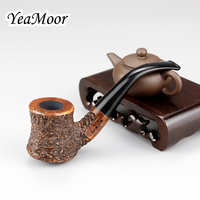 New Hammer Design Briar Pipe 9mm Filter Smoking Tobacco Pipe Bent Carven Smoking Pipe 74 tools Random Carved Briar Wood Pipe