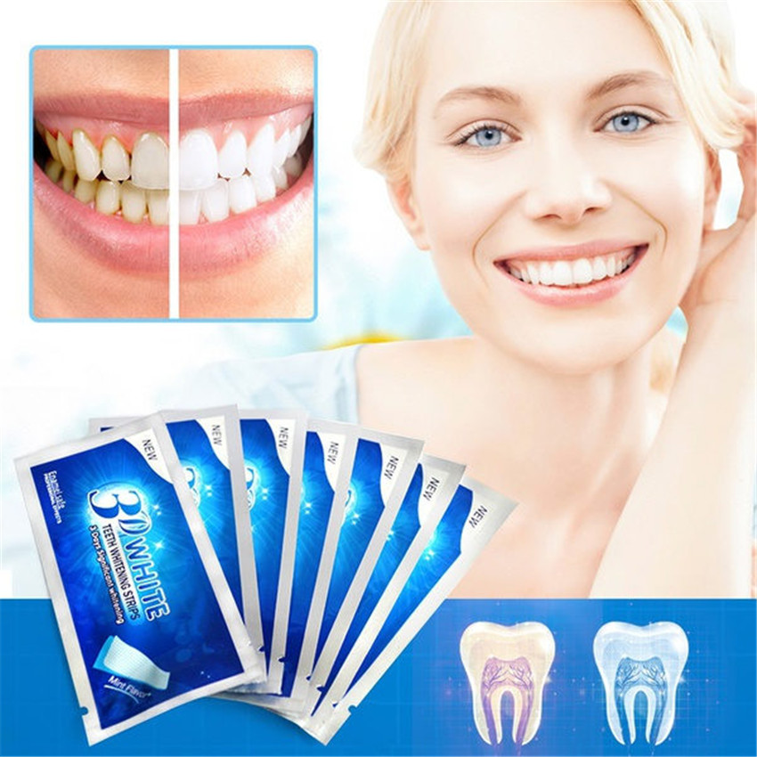 6Pcs/3Pair 3D White Gel Teeth Whitening Strips Oral Hygiene Care Double Elastic Teeth Strips Whitening Dental Bleaching Tools