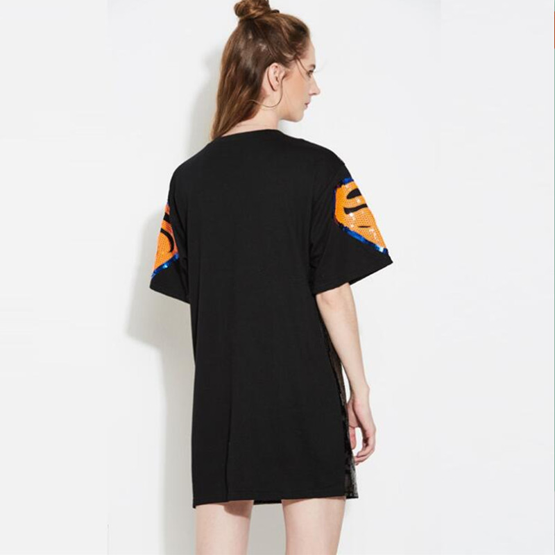 Fashion Girls Superman Sequins Decorated Hip Hop Casual Street Style Loose  Baggy Boyfriend Tee Dress-in Dresses from Women s Clothing on  Aliexpress.com ... 09de505b76cc