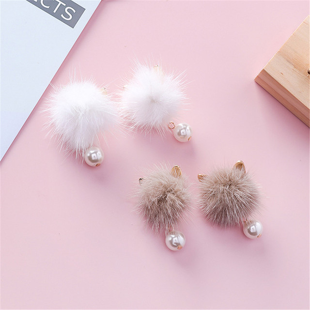 Fluffy Pompon Cat Ear Earrings