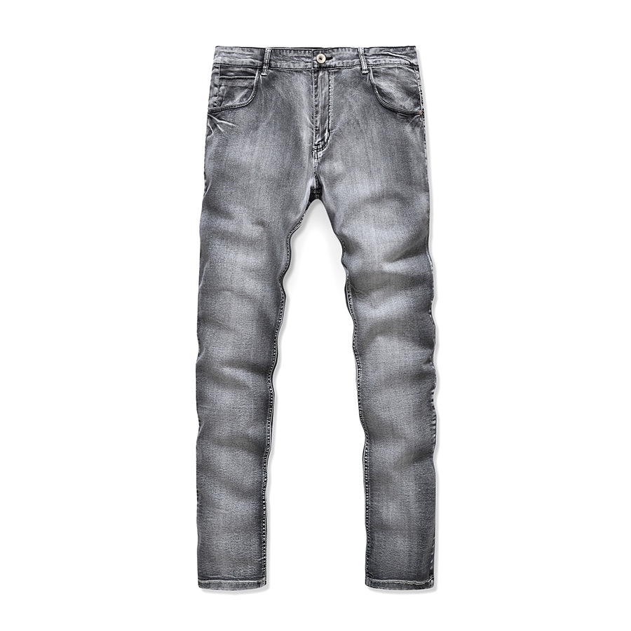 Men s fashion wolf print stretch denim jeans Slim black painted straight pants Long trousers