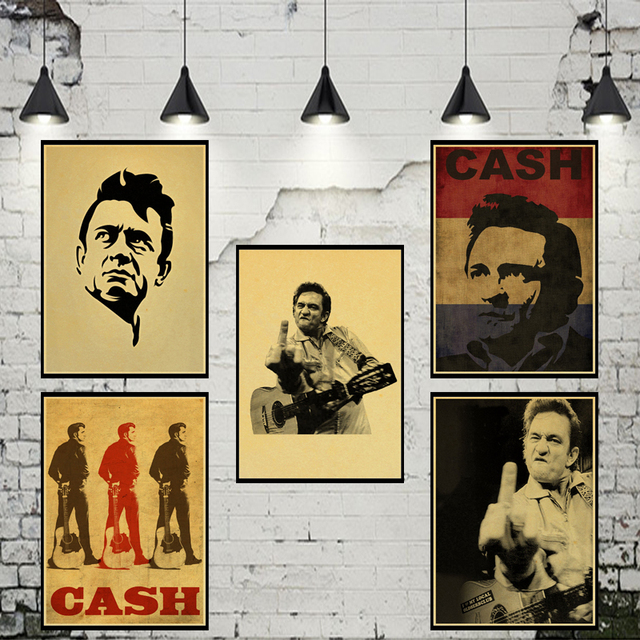 Retro poster Johnny Cash Country Music Singer Wall Sticker vintage ...