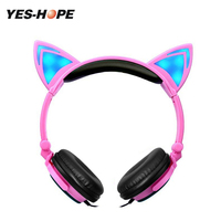 Foldable Flashing Glowing Cat Ear Headphones Wired Gaming Headset With LED Light Hifi Stereo Headphone For