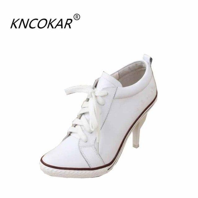 Zapatos de tacón alto de cuero, solos zapatos blancos, mocasines moda cabeza redonda.