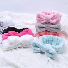 Повязка для волос из кораллового флиса с бантиком и крестиком для мытья лица, женская маска для ванной, косметическая повязка для волос, держатель для девочек, аксессуары для волос с веревкой