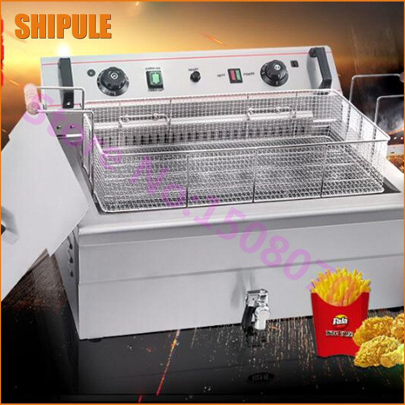 SHIPUL 2017 20L capacity electric deep fryer for fried chicken commercial deep fryer machine price for small business thick single cylinder electric fryer commercial electric fryer fried chicken oven fries fried squid machine dedicated