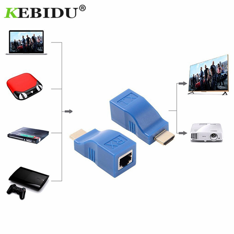 Kebidu 1 Pair 4K HDMI Extender Mini RJ45 Ports to 30m HDMI Extension Over CAT 5e / 6 UTP LAN Ethernet Cable Converter for HDTV hdmi extender rj45