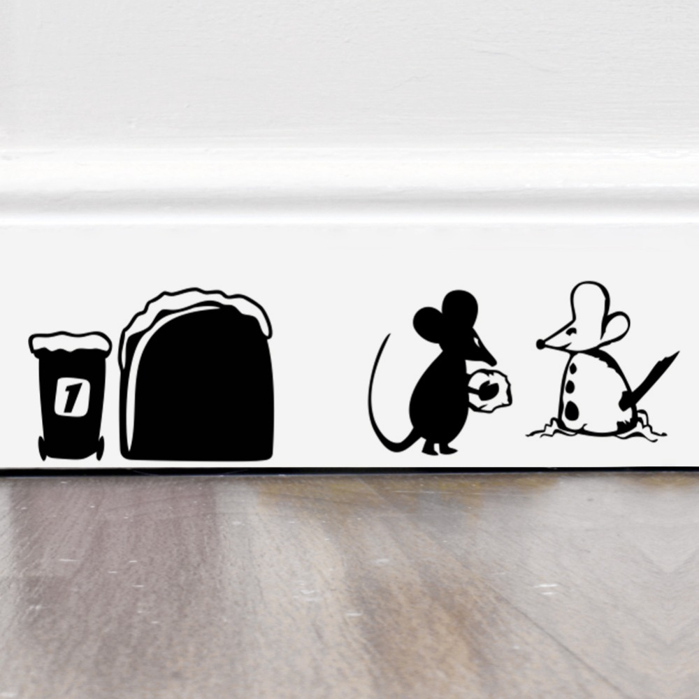 Funny Mouse Hole Food Wall Stickers Creative Rat Cartoon