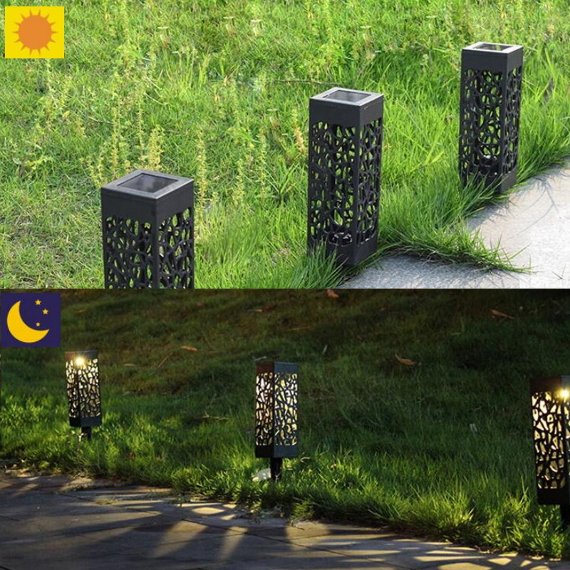 Outdoor Waterproof Solar Lamp Hollow Light Warm Light Led Light Control Induction Lawn Garden Lamp Plug Type Night Light