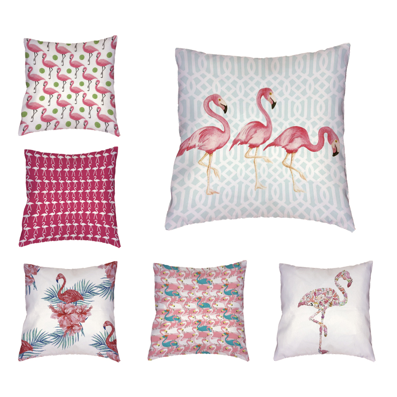 Pretty Cushion Cover Pink Flamingo Geometric Background 17 In Fashion Letter Throw Pillowcase Home Party Decorate Children Gift