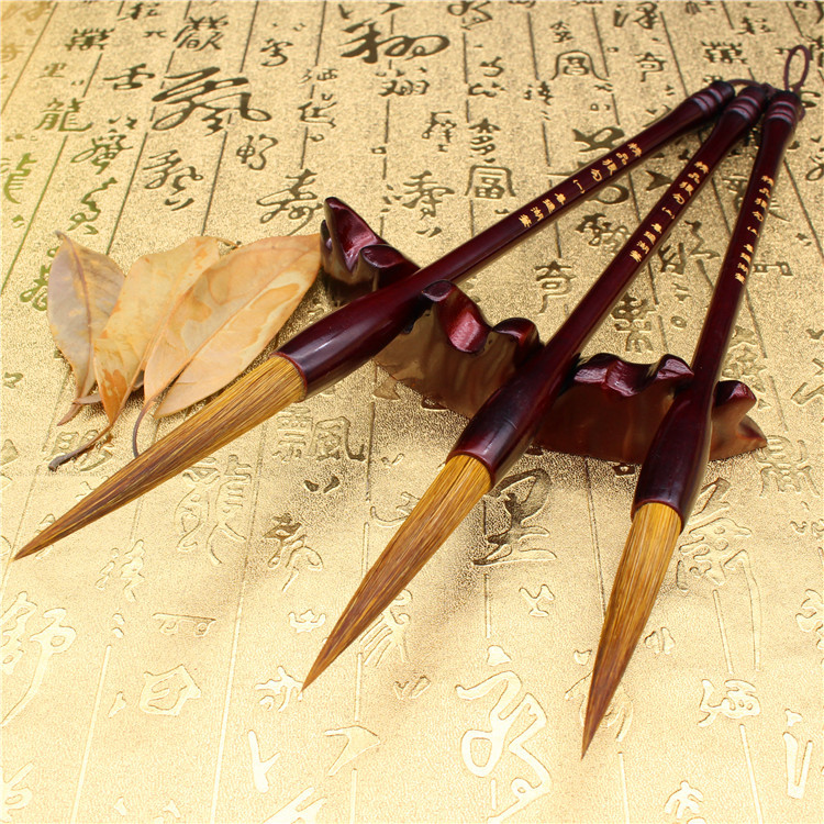 Chinese Calligraphy Stationery Pure Weasel Hair Pen Brush Set Long Large Middle Small Regular Script Outline Writing Brush 3pcs pure langhao calligraphy brush all wood lake pen wenfangsibao set
