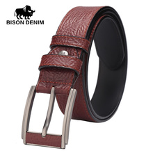 BISON DENIM genuine leather belts for men brand male pin buckle jeans cowboy Mens Belt Luxury Designer Leather belt W71155