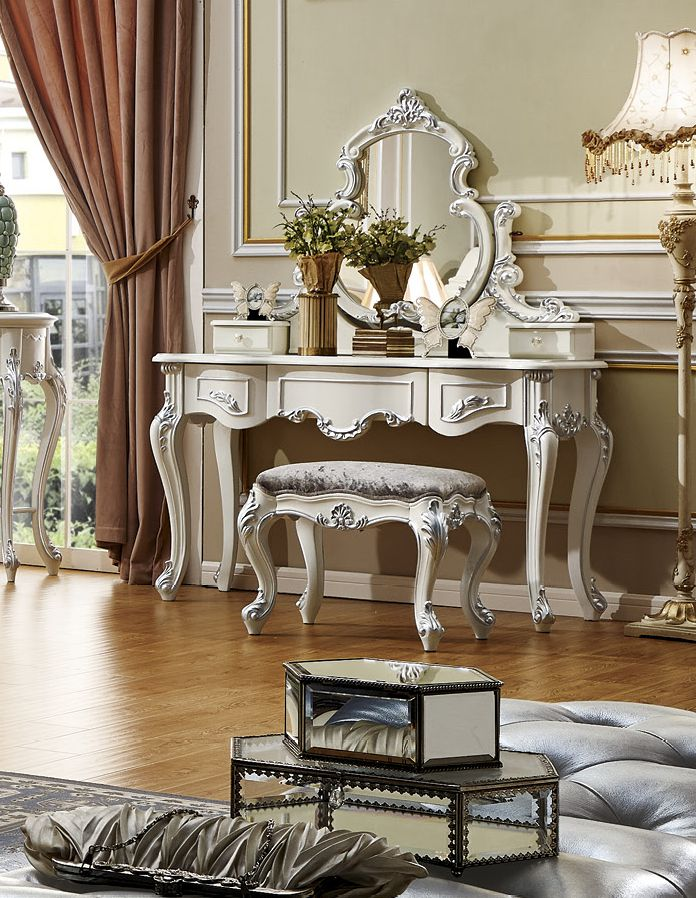 ProCARE European style solid wood white dressing table set /dresser