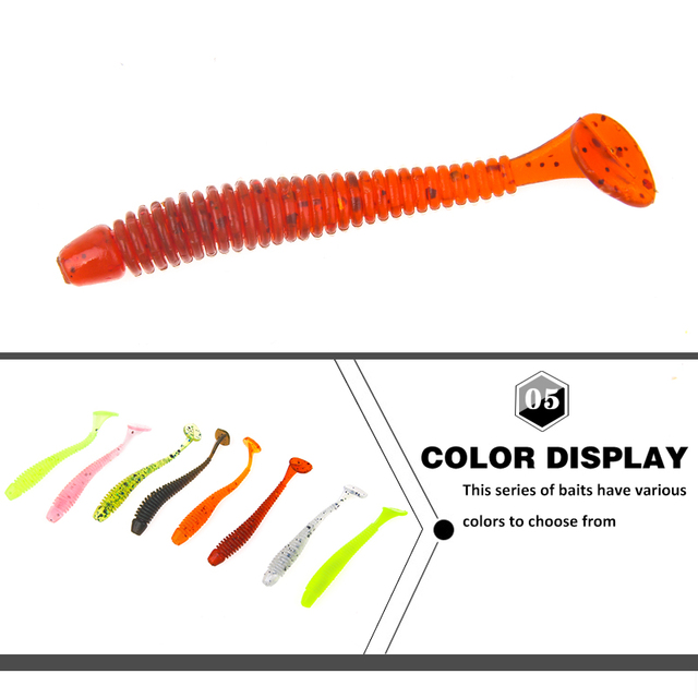 SEAPESCA 5pcs Wobblers Tail Soft Bait Worm Grubs 45mm 0.8g Fishing Lure Aritificial Bass Pike Fishing Jigging Smell Bait YA387