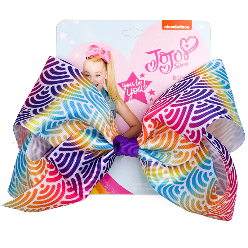 8 Large Party Bow With Hair Clip For Girls Kids Handmade Metalic Printed Ribbon Knot Jumbo Accessories