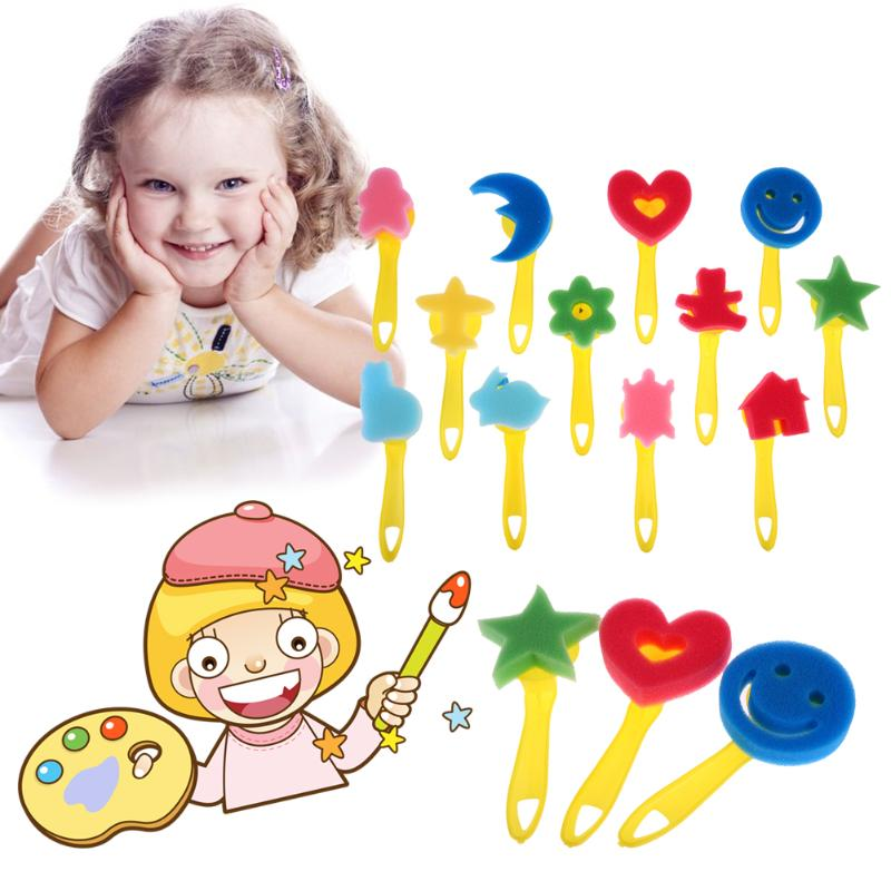 Kids Toys 12pcs/lot Mixed Pattern Colored Child Painting Brush DIY Sponge Drawing Toys Art Supplies Brushes Painting Tool