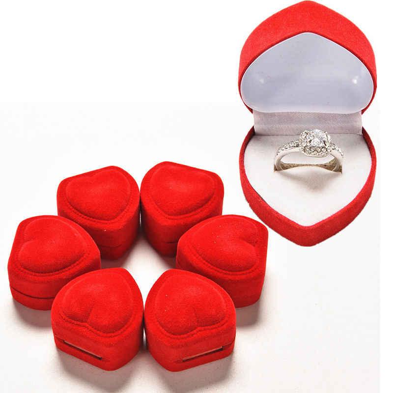Baru 1 Buah Mini Cute Merah Membawa Foldable Case Display Perhiasan Kotak Kemasan Tahan Lama Merah Berbentuk Hati Tutup Terbuka Beludru kotak Cincin
