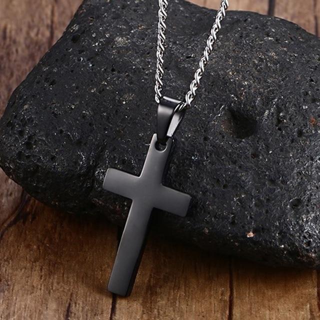 Black Titanium Cross Pendant Necklace