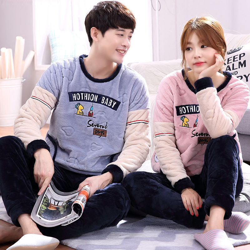 2018 Winter kigurumi Thick Coral Fleece Pajamas Sets Bottoms Couples Flannel Warm Sleepwear Thermal Homewear