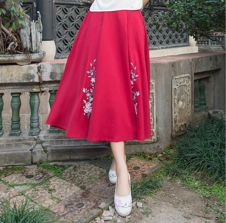 2017 Spring and summer new embroidery flower A word cotton Hemp skirt